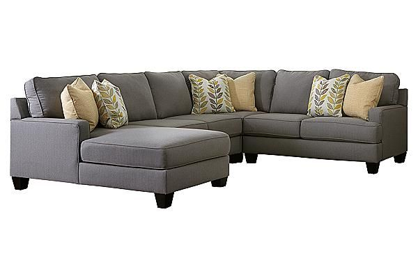 """The Chamberly - Alloy Sectional from Ashley Furniture HomeStore (AFHS.com). With ample combinations to create a modular sectional that adapts to fit into any living room space, the stunning contemporary design of the """"Chamberly-Alloy"""" upholstery collection features sleek set-back arms along with beautifully shaped seating and back cushions to give you the style and comfort you deserve."""