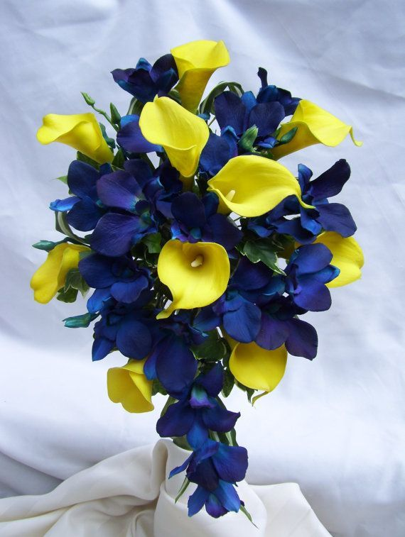 Tracy S Cascade Bridal Bouquet With Yellow Calla Lilies Blue Violet Dendrobium Orchids Singapore Galaxy