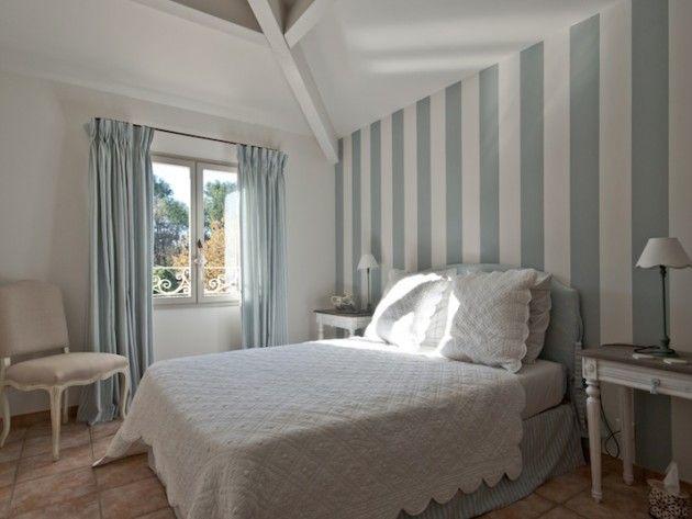 chambre décoration bleu et blanc