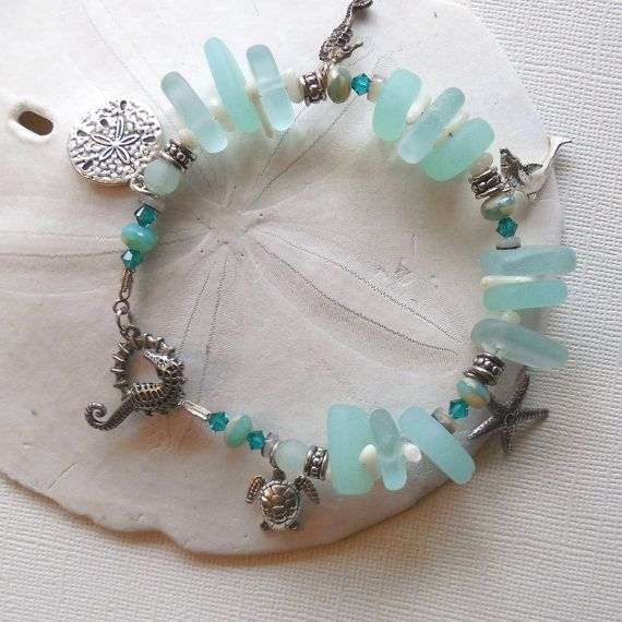 Seafoam Green Frosted Sea Glass Charm Bracelet. by SolEMarDesigns