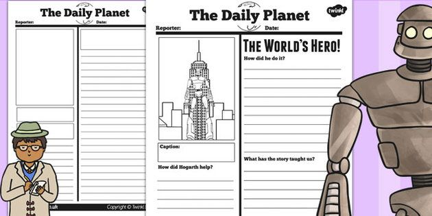 The Iron Man Newspaper Report Differentiated Worksheets  Activities