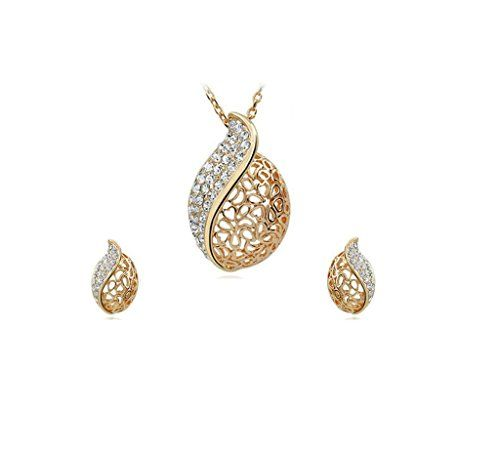 Necklace Earings Set Hollow Heart Pendant with Rhinestone Crystals Chain 185 Pendant 125 Earrings 075 Gold Plated >>> Click image to review more details. Note:It is Affiliate Link to Amazon.
