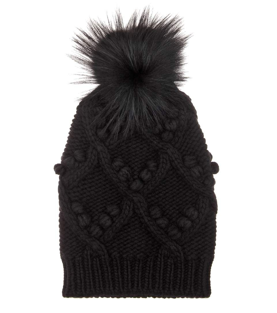 Black cashmere beanie with fur