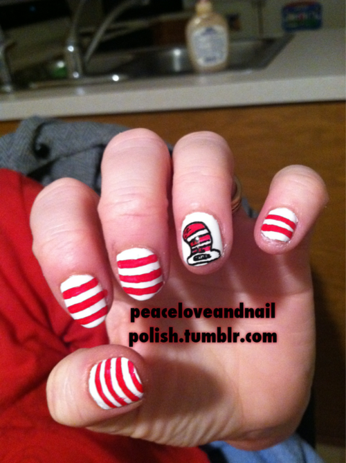 """Dr Seuss nail art """"Cat in the Hat"""" - This is easy enough!!  Well if I can't have the Lorax, then I surely can have Cat in the Hat!!!"""