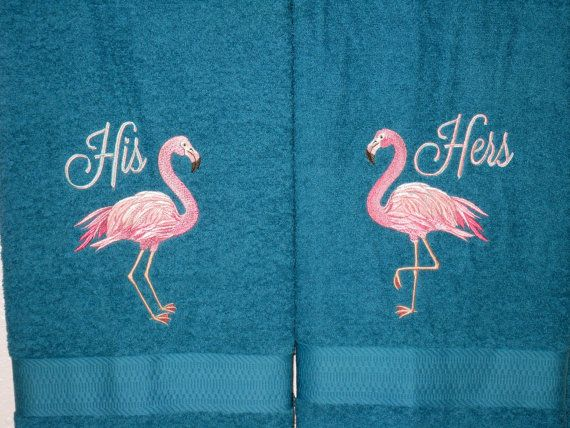 his and hers flamingo towel set pink flamingos embroidered bath towels for newlyweds - Pink Flamingo Bath Decor