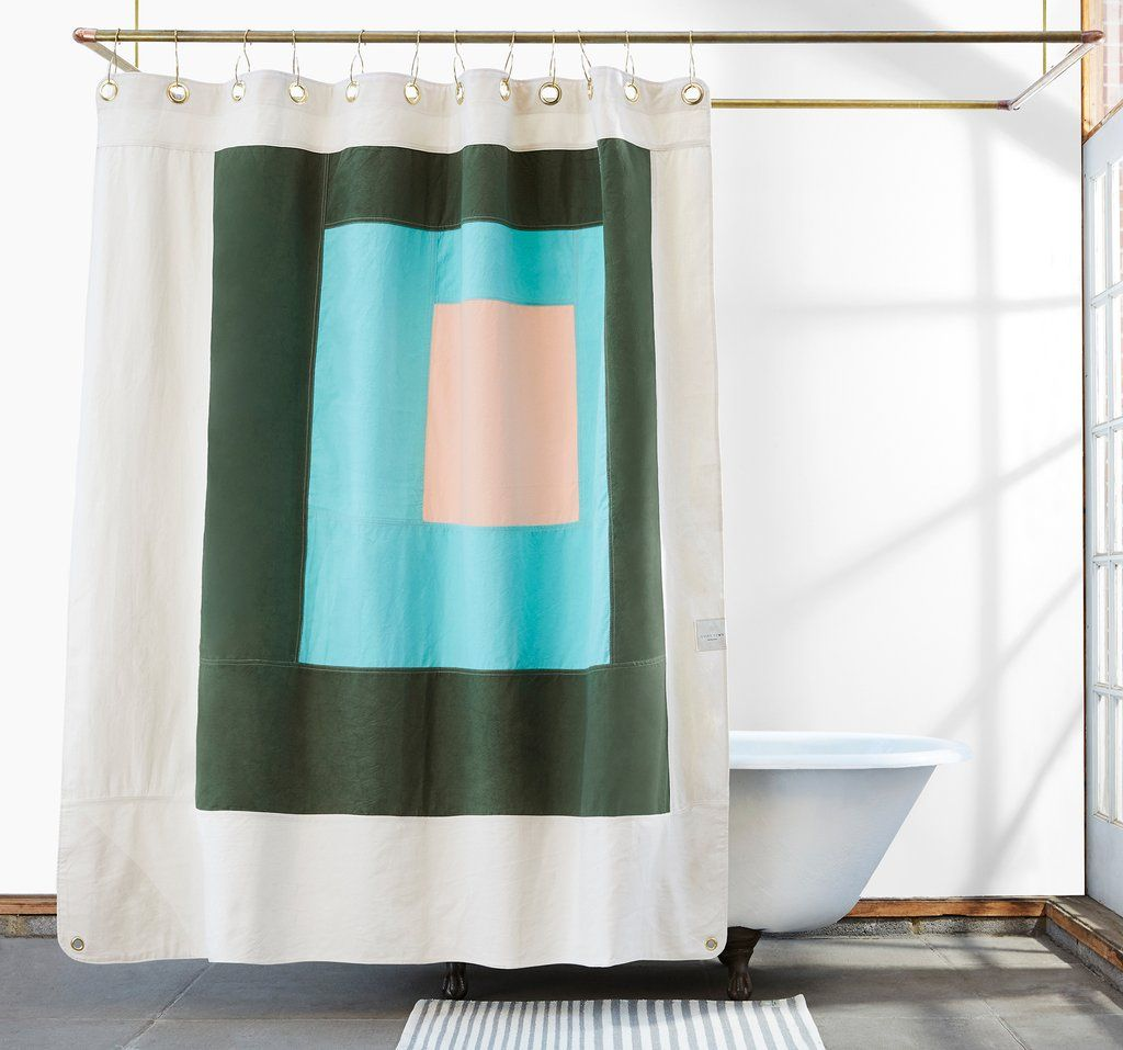 Marfa Pine Color Blocked Canvas Shower Curtain Shower Curtain