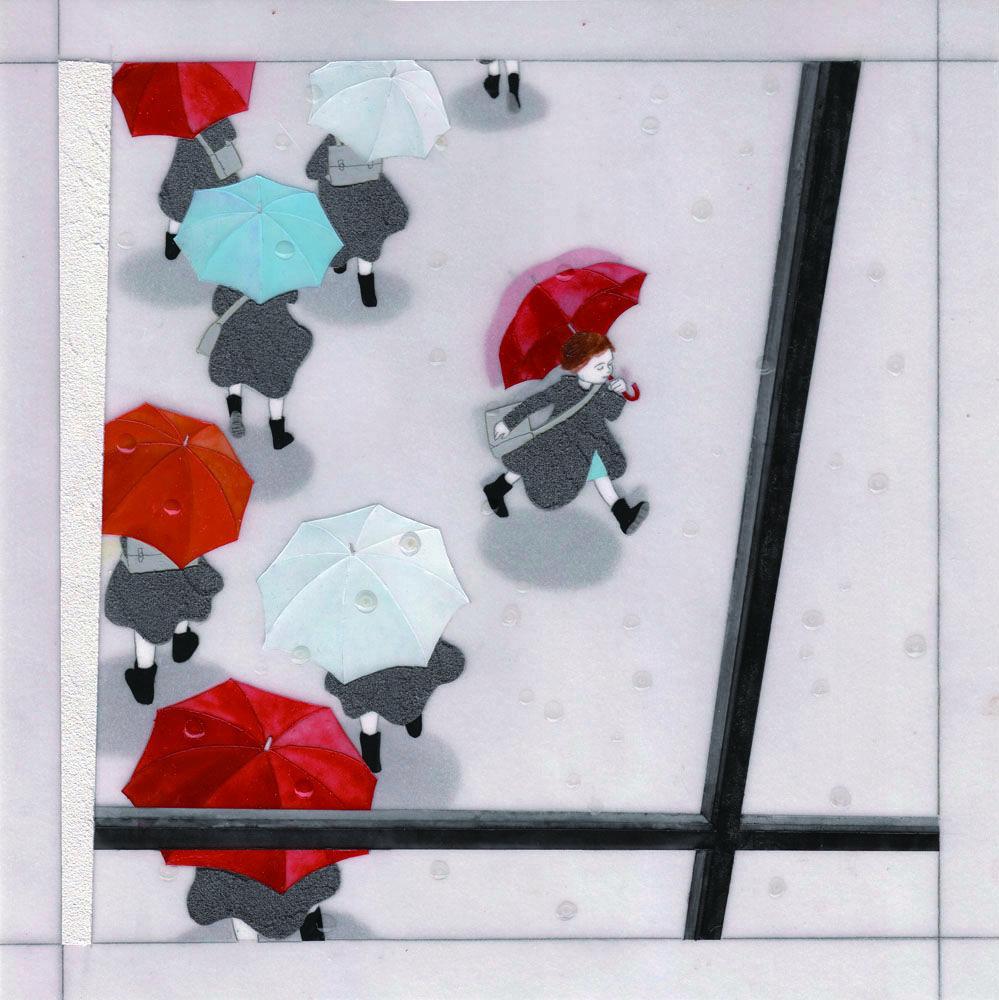 『雨の日の愉快』 アクリル絵具・トレーシングペーパー 25cm×25cm