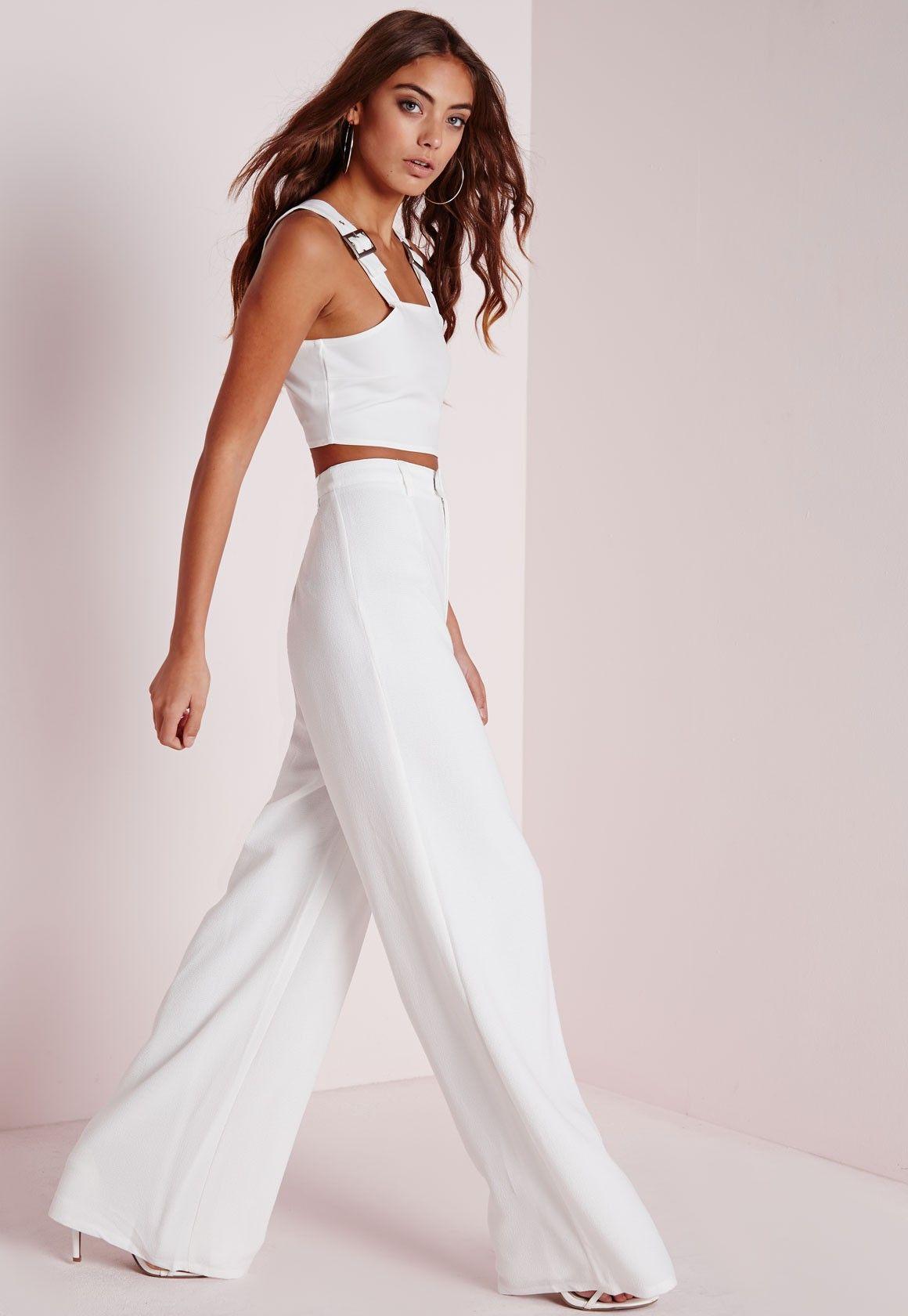 ece328753db Missguided - Premium Crepe Wide Leg Pants White