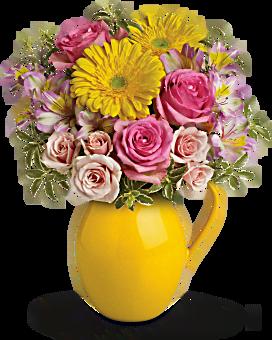 Teleflora's Sunny Day Pitcher Of Charm Flower Arrangement