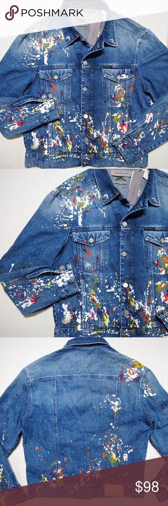 Calvin Klein Men S Trucker Denim Jacket Paint Slim Clothes Design Fashion Custom Clothes [ 1740 x 580 Pixel ]