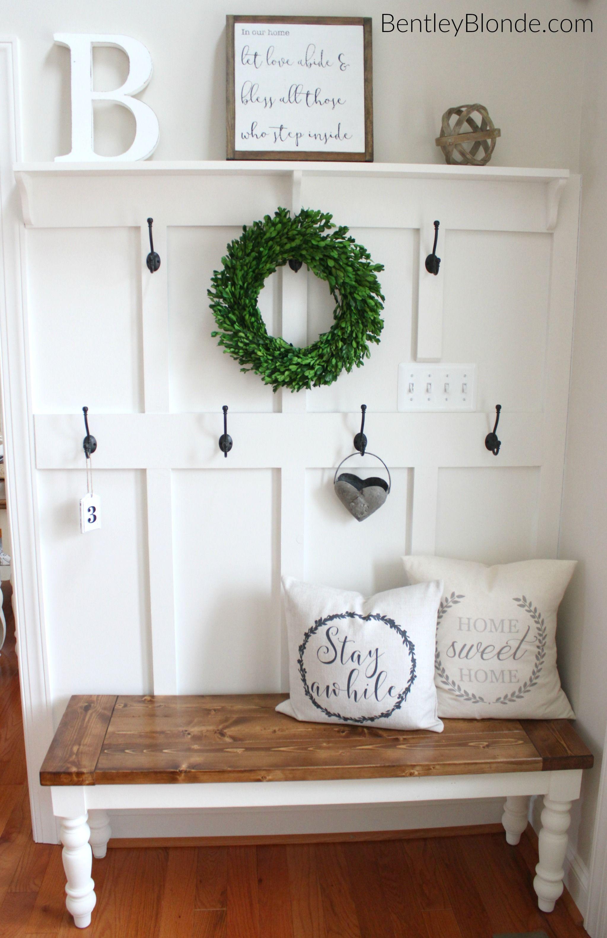 Diy farmhouse bench tutorial farmhouse style pinterest for Foyer seating ideas