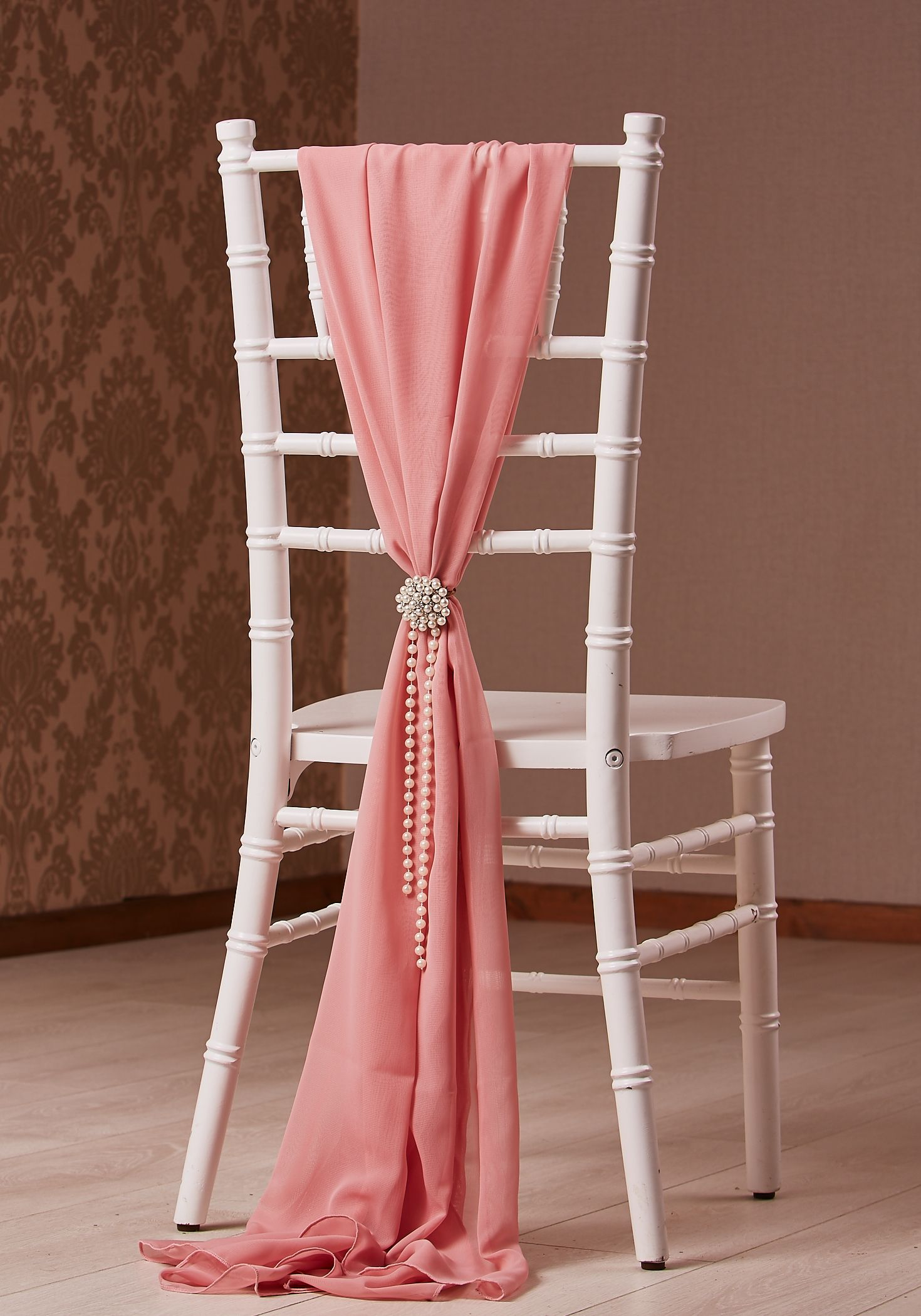 CHIAVARI CHAIR STYLED FOR A WEDDING WITH DUSKY PINK CHIFFON DROP