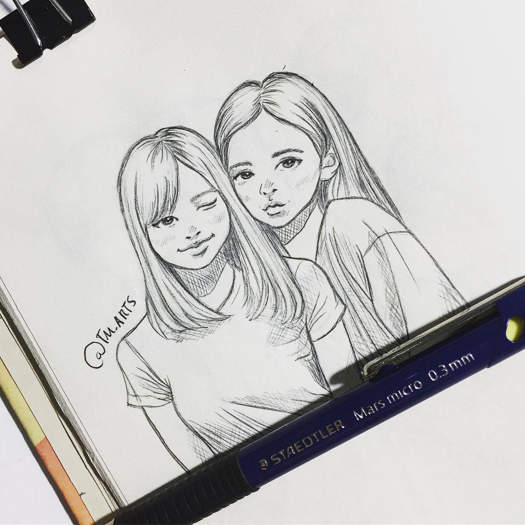 Lisjen   Bff drawings, Friends sketch, Drawings of friends