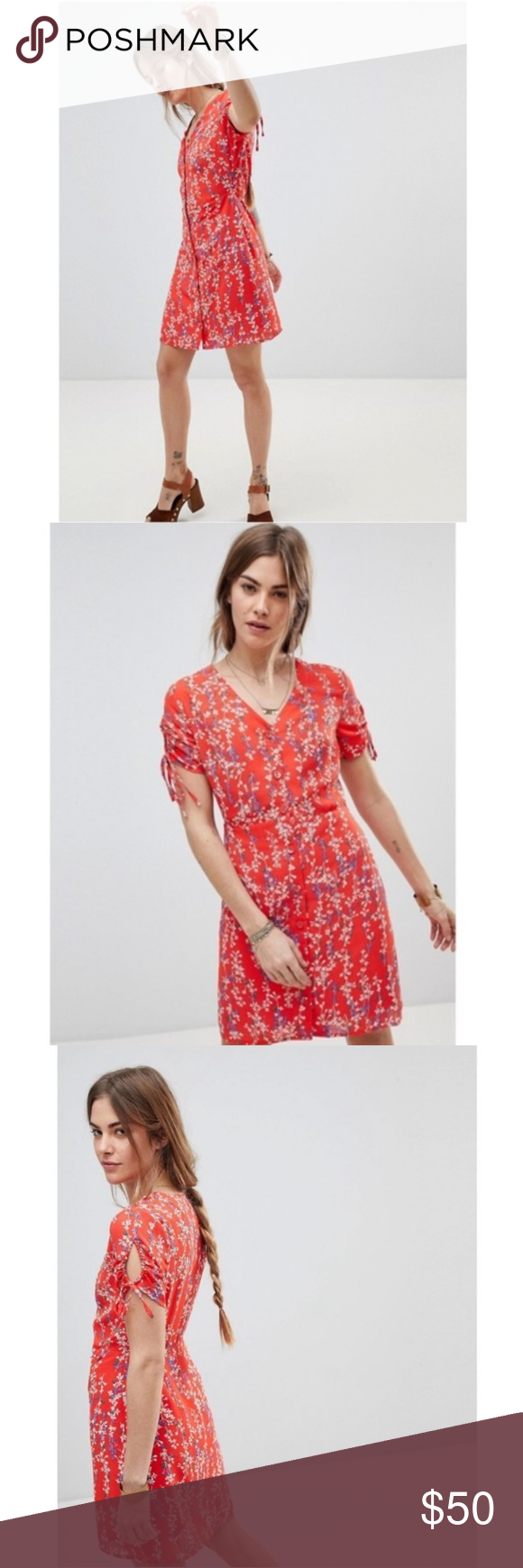1b939b09406 Moon River Red Ditsy Floral Wrap Dress Red Ditsy Floral Wrap Dress by Moon  River from