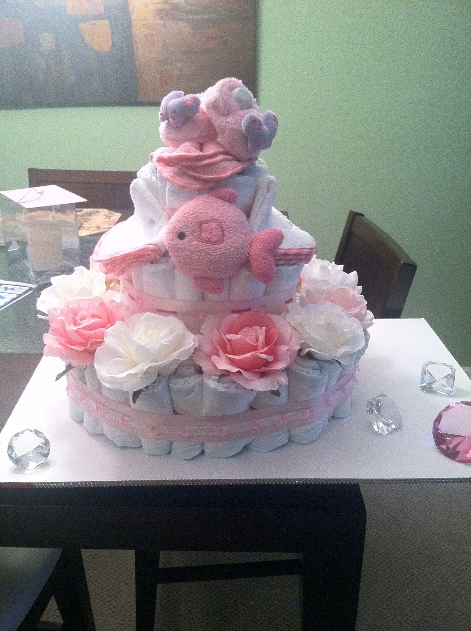 Diaper cake Diamonds Roses theme Baby girl Baby shower