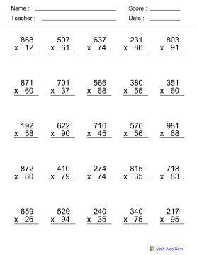 Math Multiplication Worksheets  Spring Break Games And Worksheets