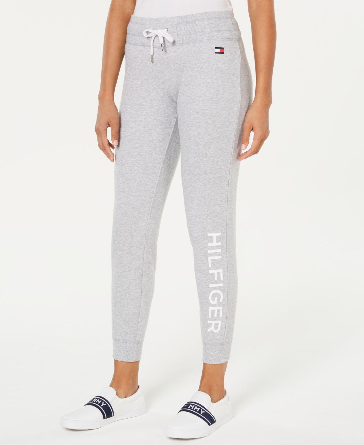 Tommy Hilfiger Sport Logo Jogger Sweatpants Heather Dove Sweatpants Tommy Hilfiger Womens Capris