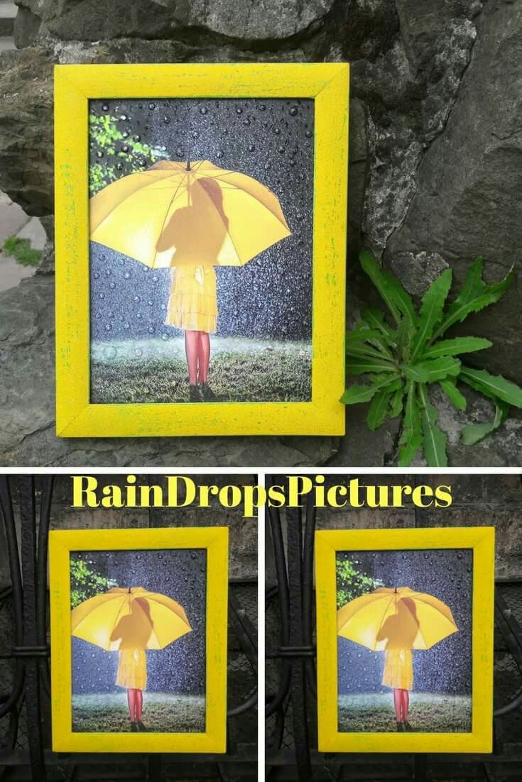 Yellow umbrella Print pretty girl in wood frame Picture gift for her ...
