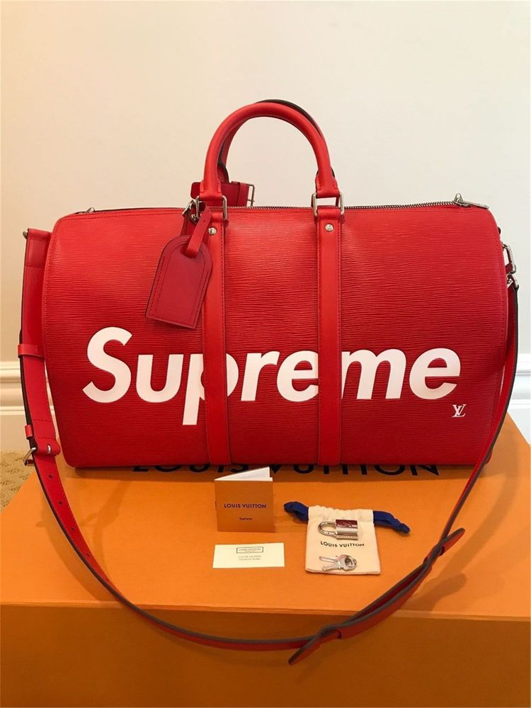 bdad9ddea01f Authentic Louis Vuitton x SUPREME Keepall 45 Bag Red Epi Leather Luggage  Duffle  fashion  clothing  shoes  accessories  mensaccessories  bags (ebay  link)
