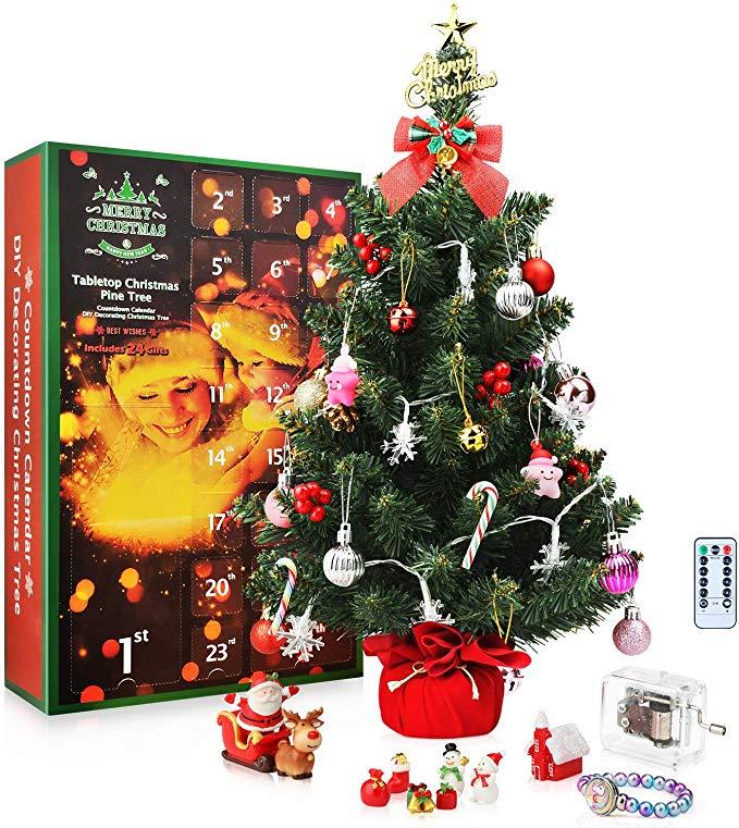 Amazon Com Sweet Diary Christmas Advent Calendar Tabletop Christmas Tree 2019 Countdown Diy Xmas Gifts Christmas Tree Advent Calendar Diy Christmas Ornaments