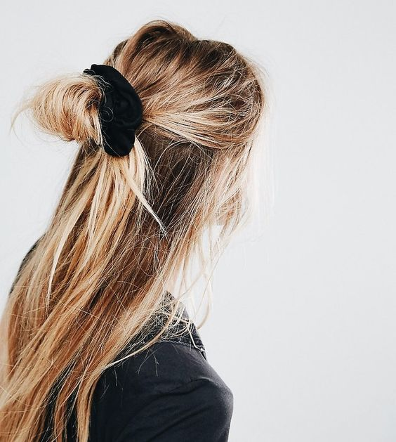 Scrunchie style. | Hair, Hair styles, Curly hair styles