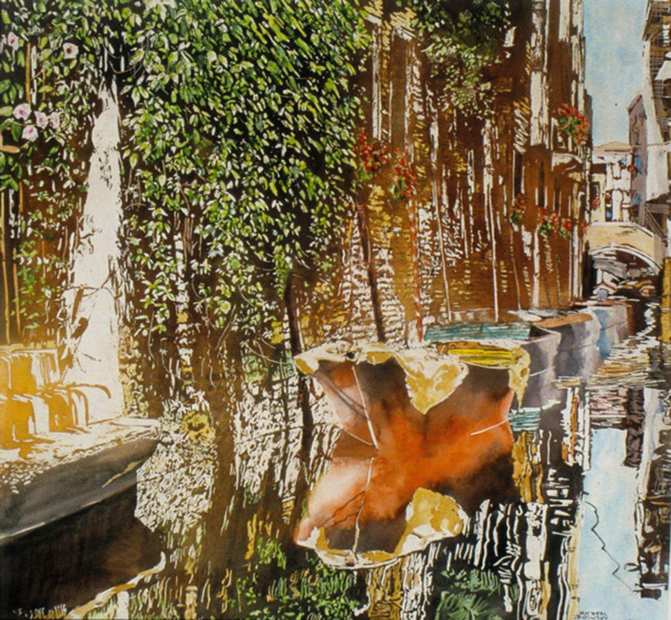 "sunlit canal rio di malpaga venice 26"" x 28"" micheal zarowsky / watercolour on arches paper / available $2500.00"