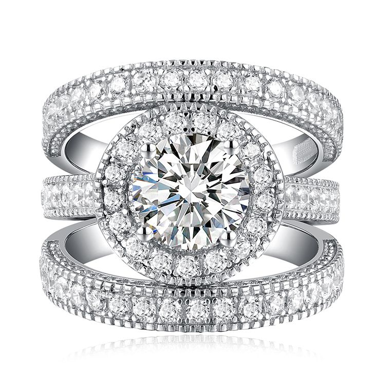 Hollow Design Crystal CZ Round cut wedding ring Hot selling on