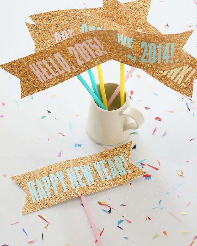キラキラグリッターのフォトプロップス | ベンジャミンズパーティー Free printables forNew Year's Eve party glitter photo props