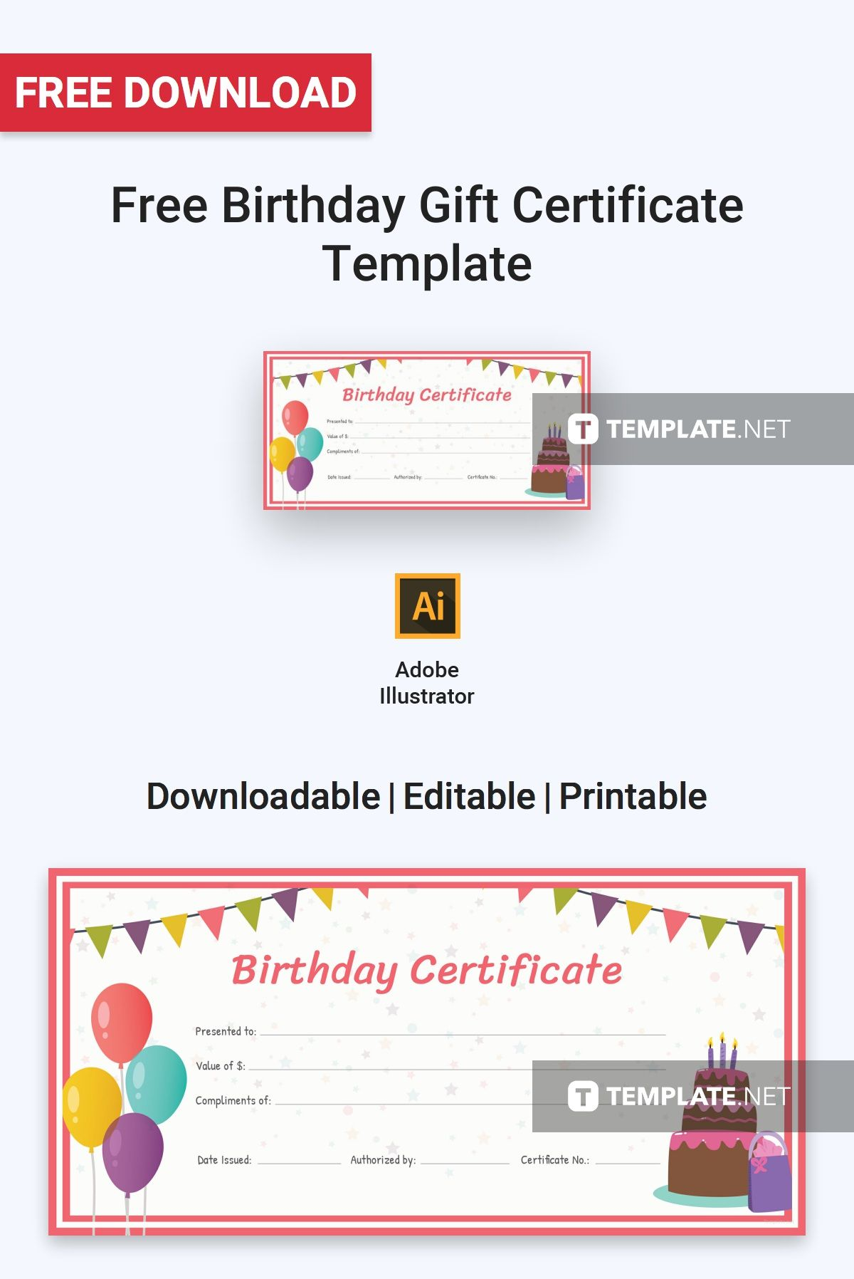 A Colorful And Fun Certificate Template That You Can Download For Free This Is Designed Birthdays Similar Celebrations High Quality Layout