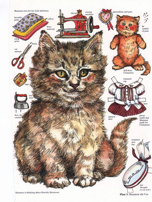 Cat paper doll by Evelyn Gathings