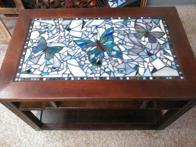 Stained Glass Mosaic Butterfly Table By Groovysquid Glass.