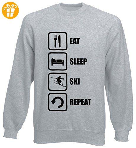 Eat Sleep Ski Repeat Funny Black Graphic Unisex Sweater XX-Large (*Partner-Link)