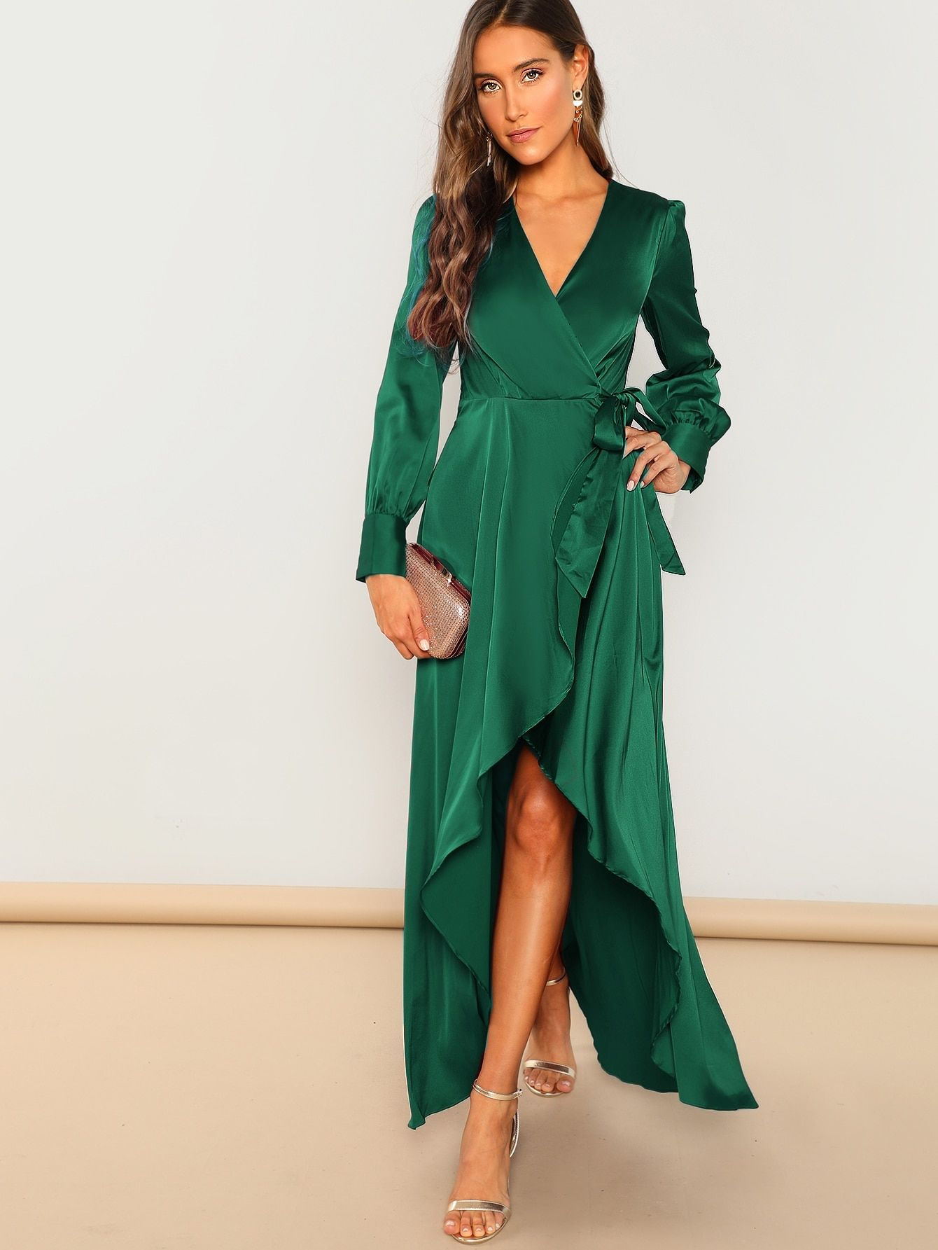 d08c3ebe902a Elegant A Line Wrap and Belted Plain Fit and Flare Wrap V Neck Long Sleeve  High Waist Green Maxi Length Solid Surplice Wrap Knot Dress