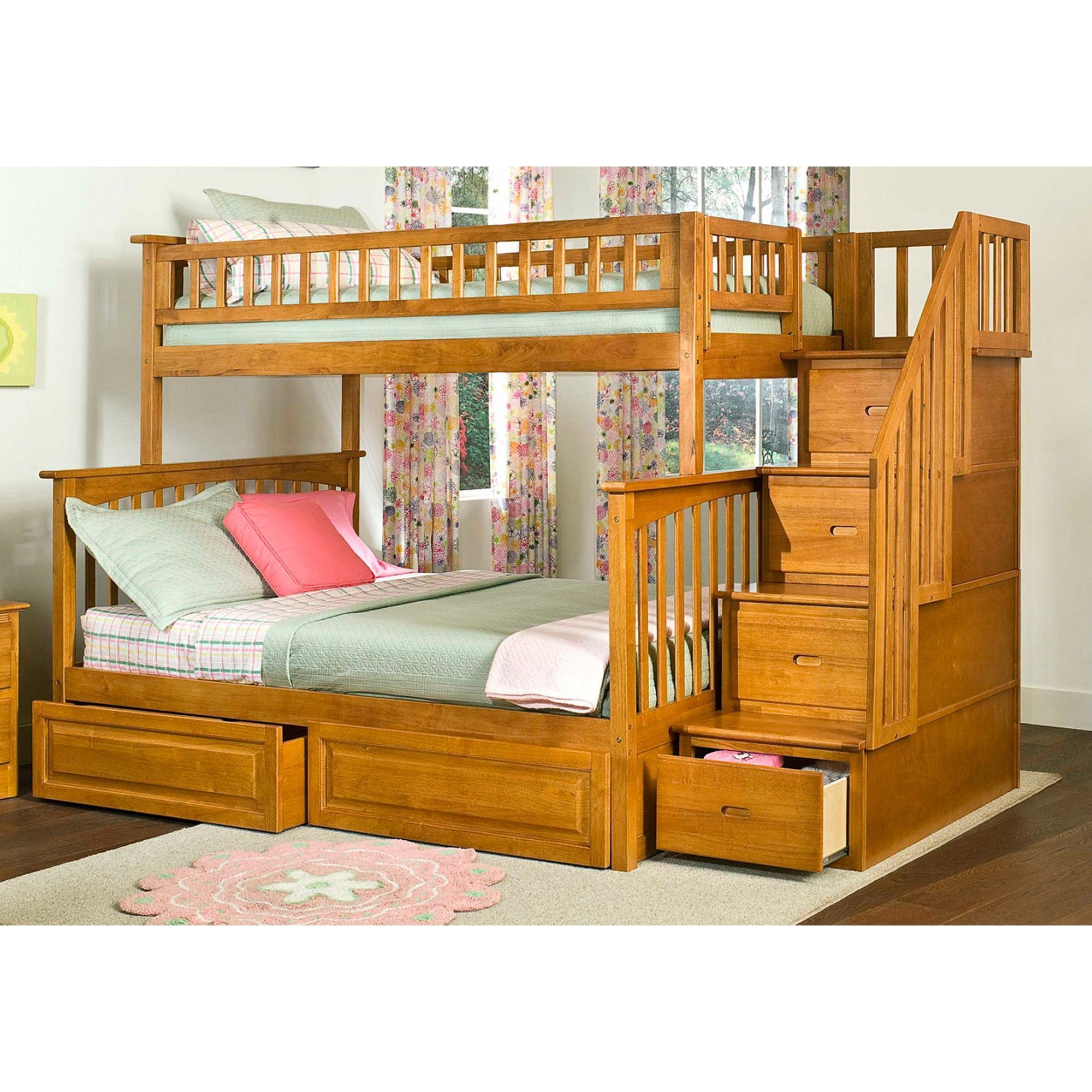 Atlantic Furniture Columbia Staircase Bunk Bed with Bed