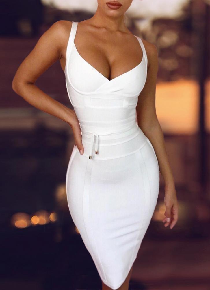 Lisa Bodycon Bandage Dress- White -   14 dress Bodycon love ideas