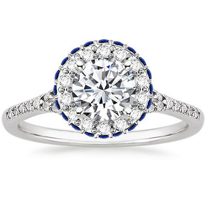 18k White Gold Circa Diamond Ring With Sapphire Accents Fashion Rings Engagement Rings Sapphire Sapphire Accent