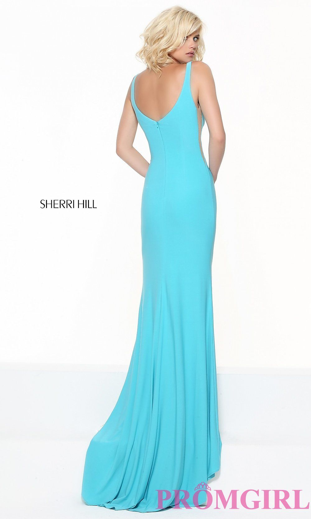 Image of Sherri Hill low v-neck prom dress with sheer panels ...