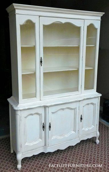 French Hutch In Distressed Off White With Tobacco Glaze Stationary Upper Shelves Bottom Storage CabinetDisplay CabinetsDining Room