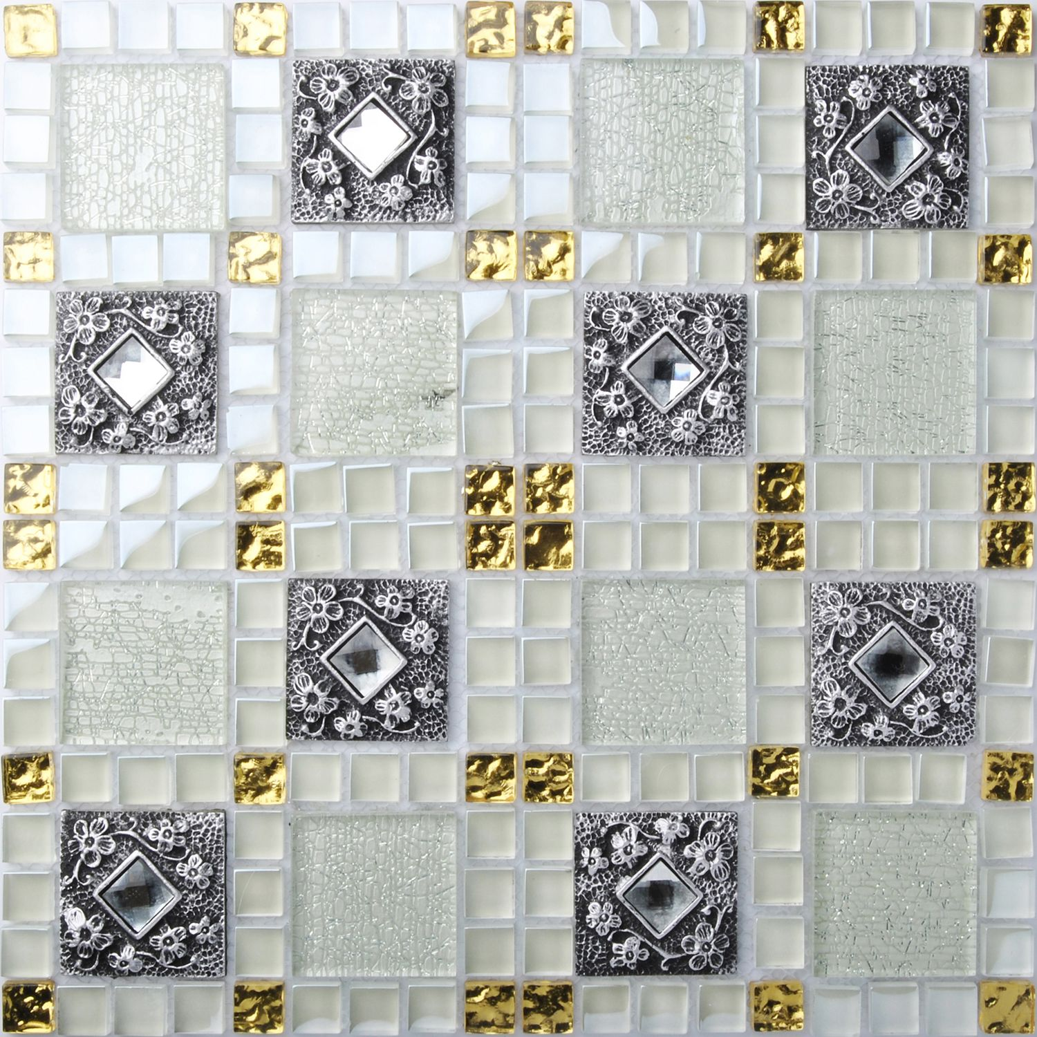 Tst Glass Mental Tile Mosaic Glass Tile White And Black Crystal