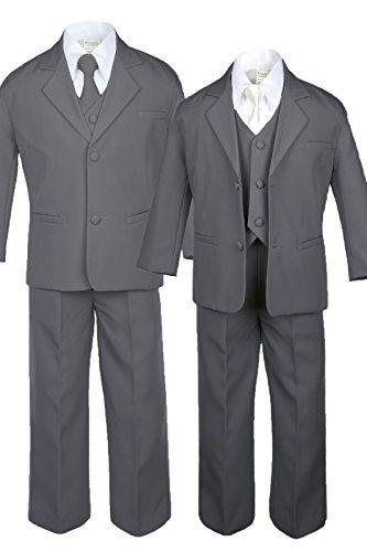 Unotux 7pc Formal Boy Black Suit Tuxedo Dark Gray Bow Tie Vest Set S-20