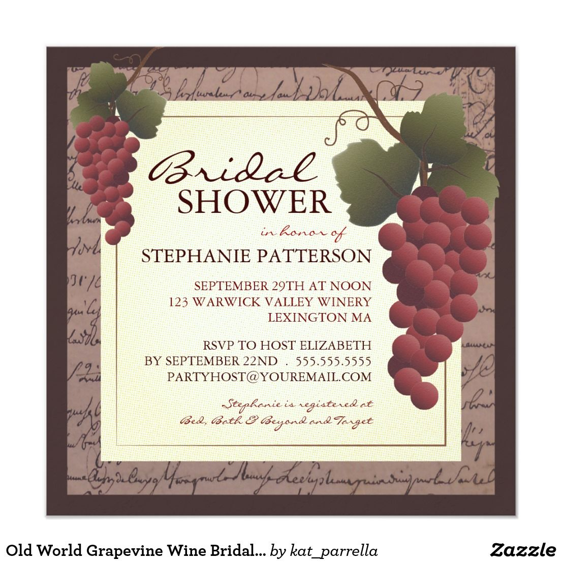 Old World Grapevine Wine Bridal Shower Invitation A beautiful ...