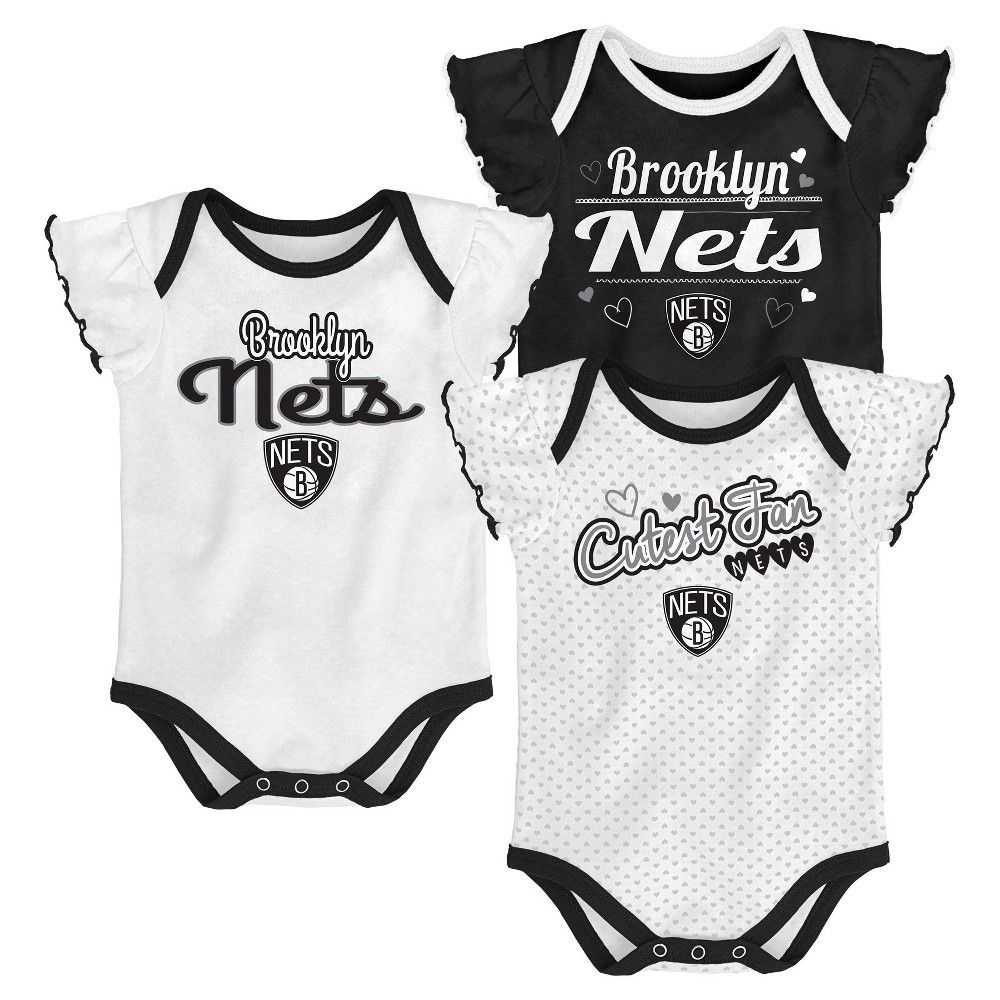 3124e85a7 Brooklyn Nets Girls  Draft Pick 3pk Body Suit Set 12 M