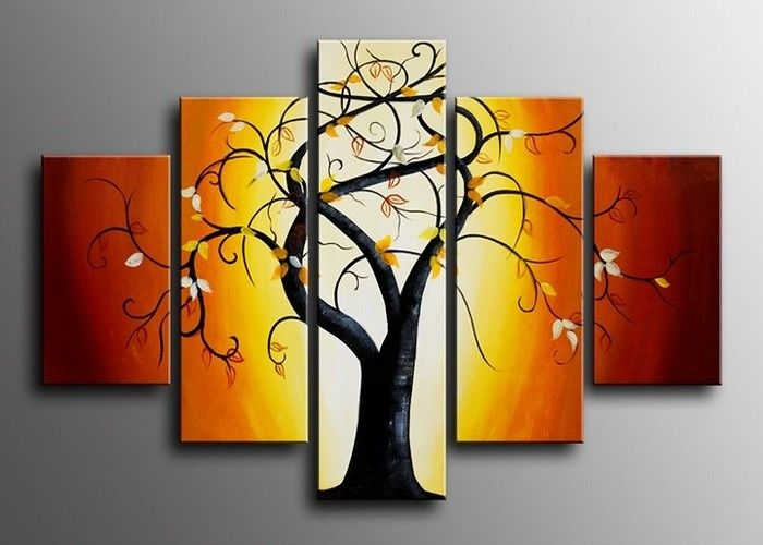Multiple Panel Art | Home » Multi Panels Tree Wall Art Painting 618 ...