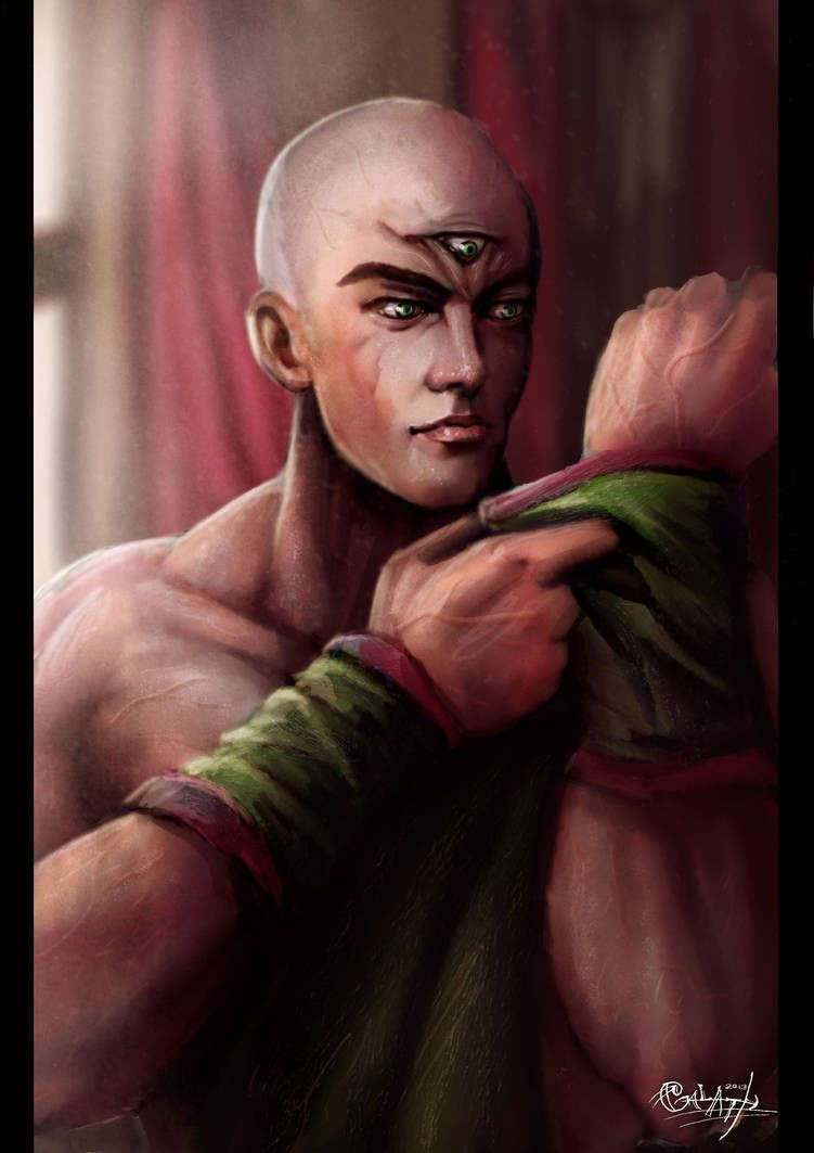 Tien Shinhan Portrait By 0galath0 On Deviantart Dragon Ball