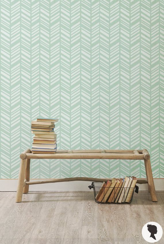 Minimalist Self Adhesive Mint Herringbone Removable Wallpaper by Livettes Contemporary - Best of herringbone wall In 2019
