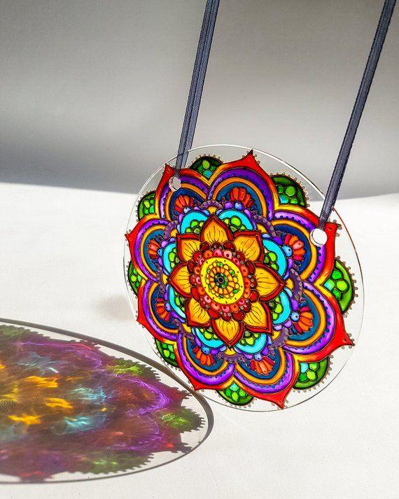 Stained Glass Suncatcher Garden Decoration, Sun Catcher for Window, Dorm Decor Meditation Mandala