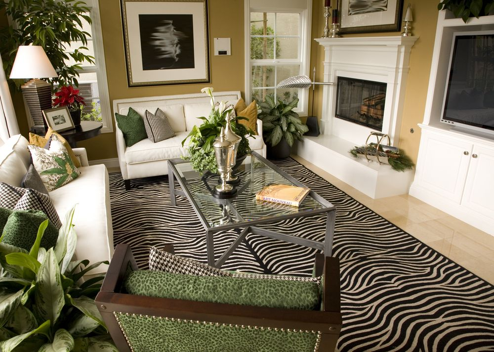 A Study In Contrasts, This Living Room Features White Entertainment Unit,  Fireplace, And. Zebra Print RugGreen ... Nice Ideas