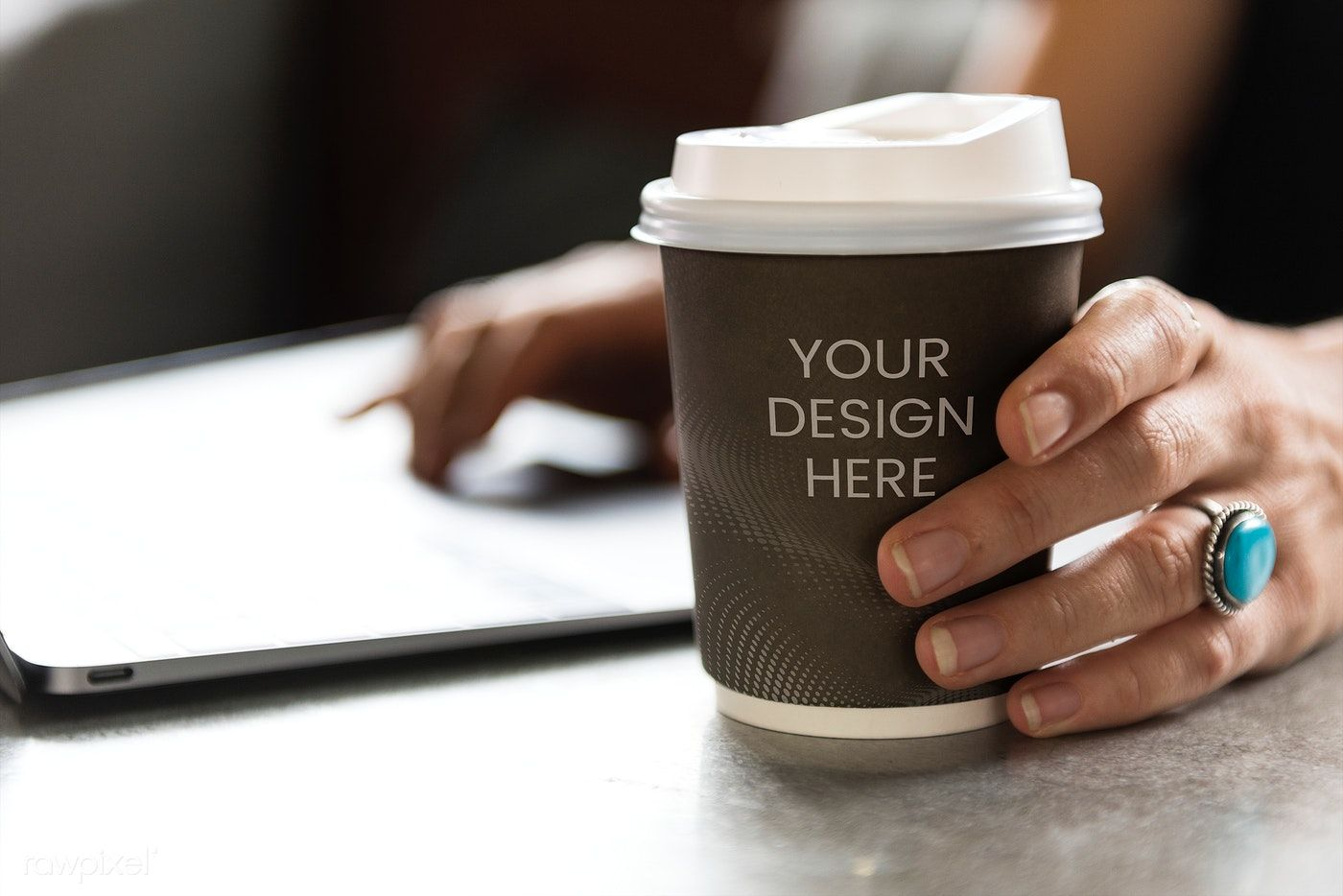 Download premium psd of Hot coffee takeaway cup mockup