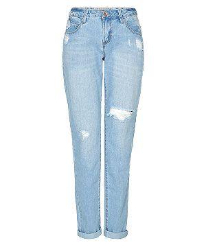 Light Blue Ripped Cropped Boyfriend Jeans