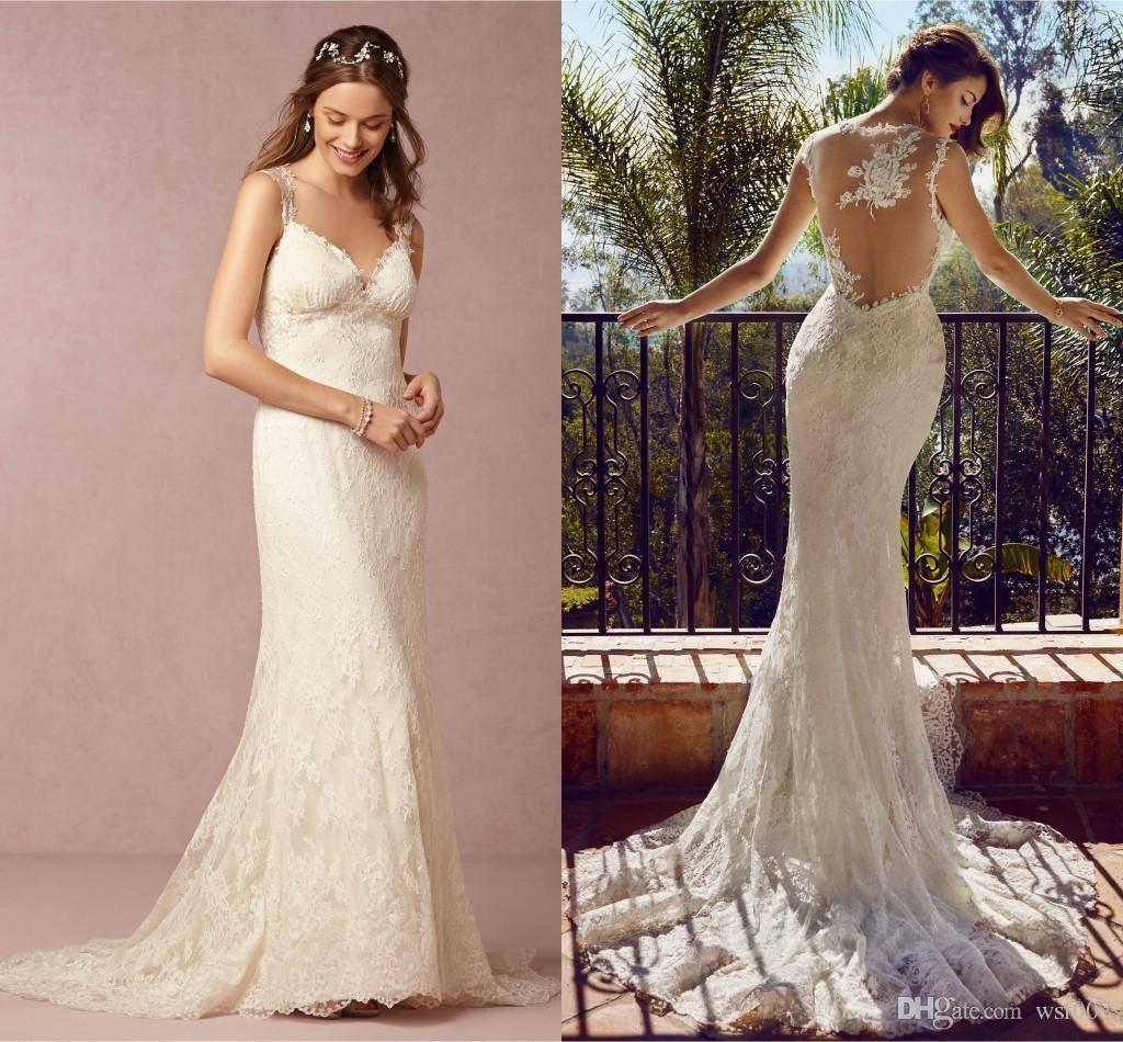 Cheap White Ivory Wedding Dresses Mermaid Lace Appliques: 2015 Wedding Dresses Mermaid Spaghetti Sheer Back Court